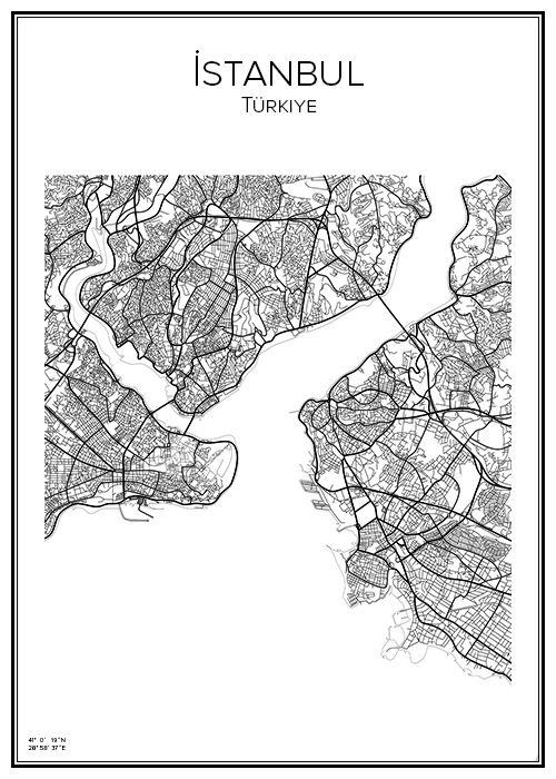 Istanbul. Turkiye. Turkiet. Turkey. Map. City print. Print. Affisch. Tavla. Tryck.