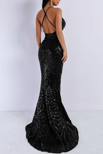 ac4fa6fcaa1 Buy Honey Couture LILLEY Black Sequin Low Back Mermaid Evening Gown Dress  at One Honey Australian Boutique online. Pay via AfterPay   ZipPay. FREE  Shipping