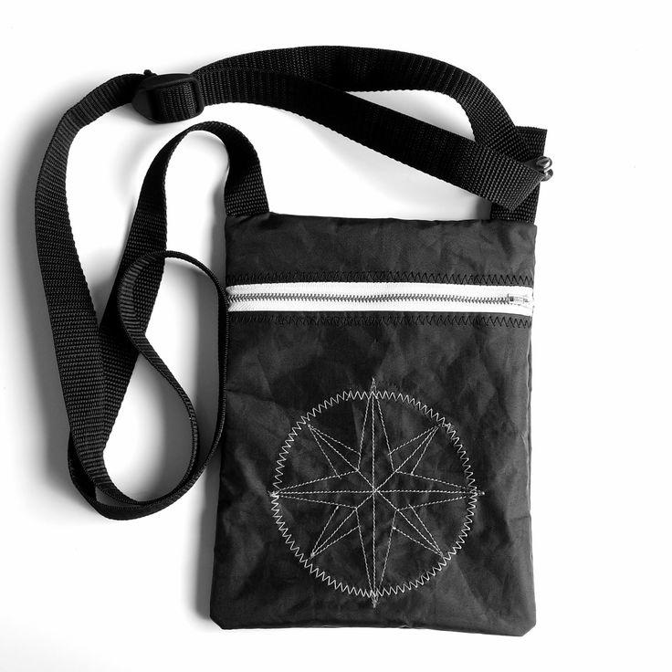 pochette besace homme en toile de voile recyclée noire : Autres mode homme par l-etoile-de-mer