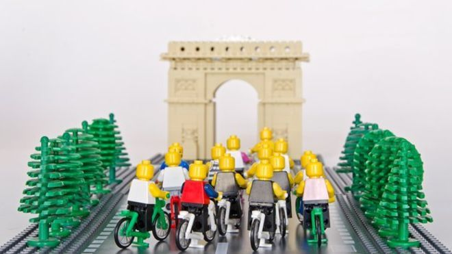 The Lego Tour De France on its final stage in Paris