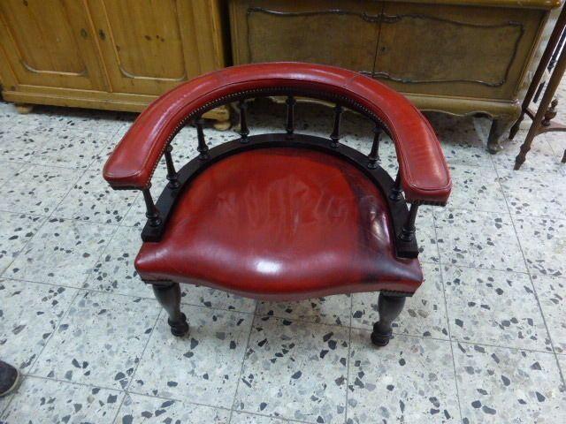 Antiker Sessel Stuhl Rot Leder Runde Ruckenlehne Antike
