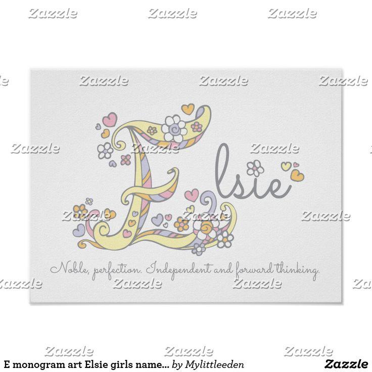 E monogram art Elsie girls name meaning poster