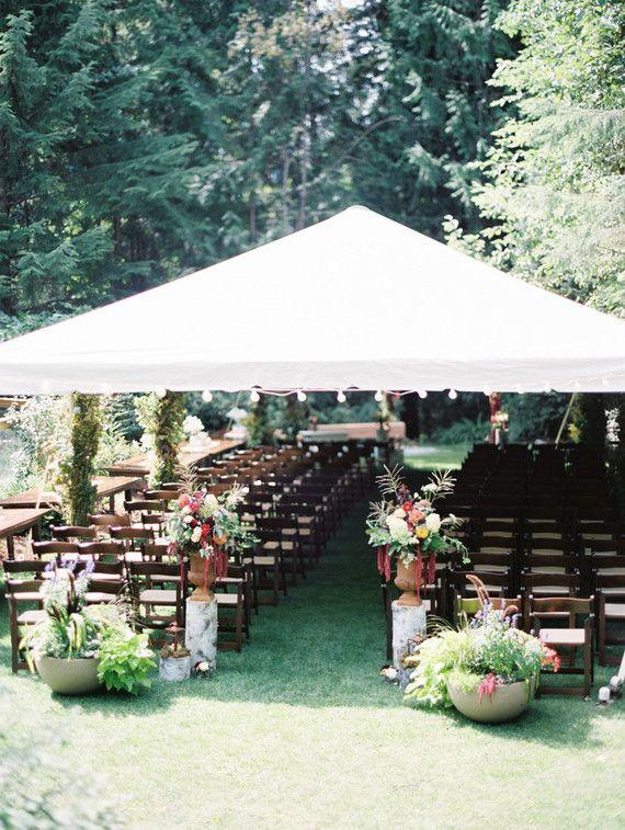 Backyard bohemian wedding ceremony