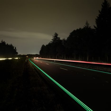 Daan Roosegaarde's pilot Smart Highway<br /> is a Dutch road illuminated with solar power