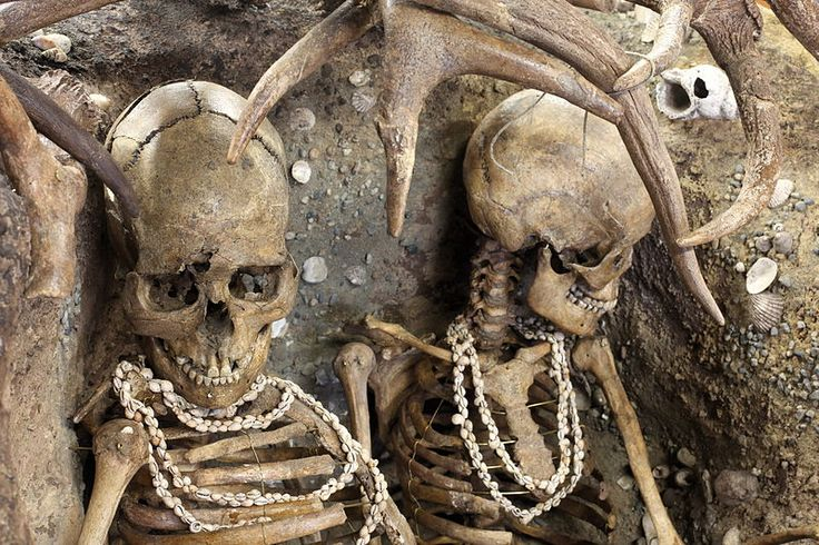 The skeletons of two women who died violently were ...
