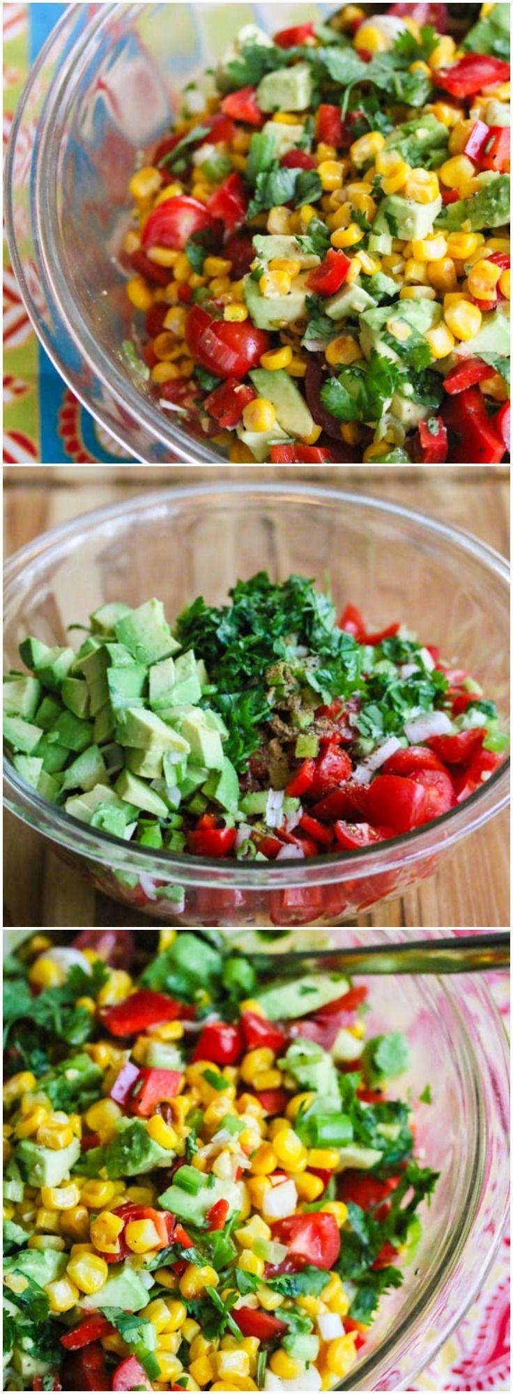 Corn Avocado Tomato Salad. by jeanetteshealthyliving #Salad #Corn #Avocado #Tomato #Healthy