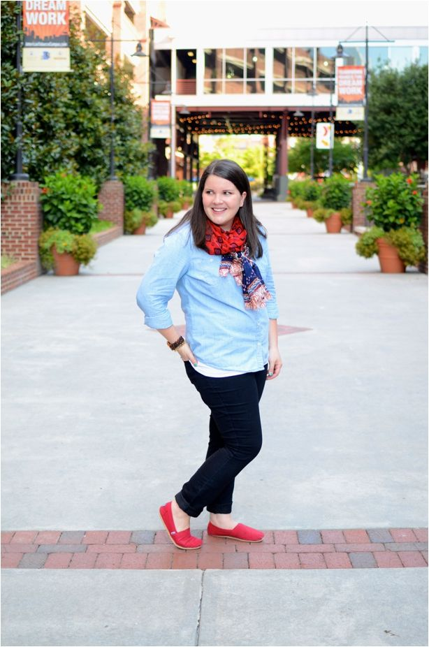 Fall Fashion - Chambray, Black Jeans, Scarf, Red TOMS