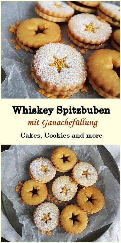 Rezept für Whiskey Spitzbuben mit Schokoladen und Ganache Füllung #rezept #schokolade #ganache #weihnachtsgebäck #spitzbuben #gold