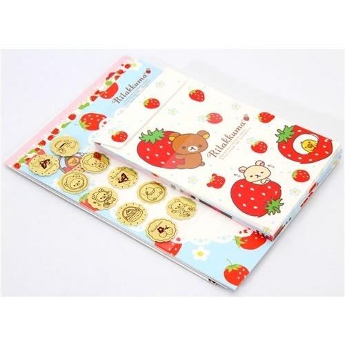 San-X letter set featuring Rilakkuma and his friend Korilakkuma picking strawberries. 36 sheets in 3 cute designs, 18 envelopes in 3 cute designs. Sheet size 14x19cm.