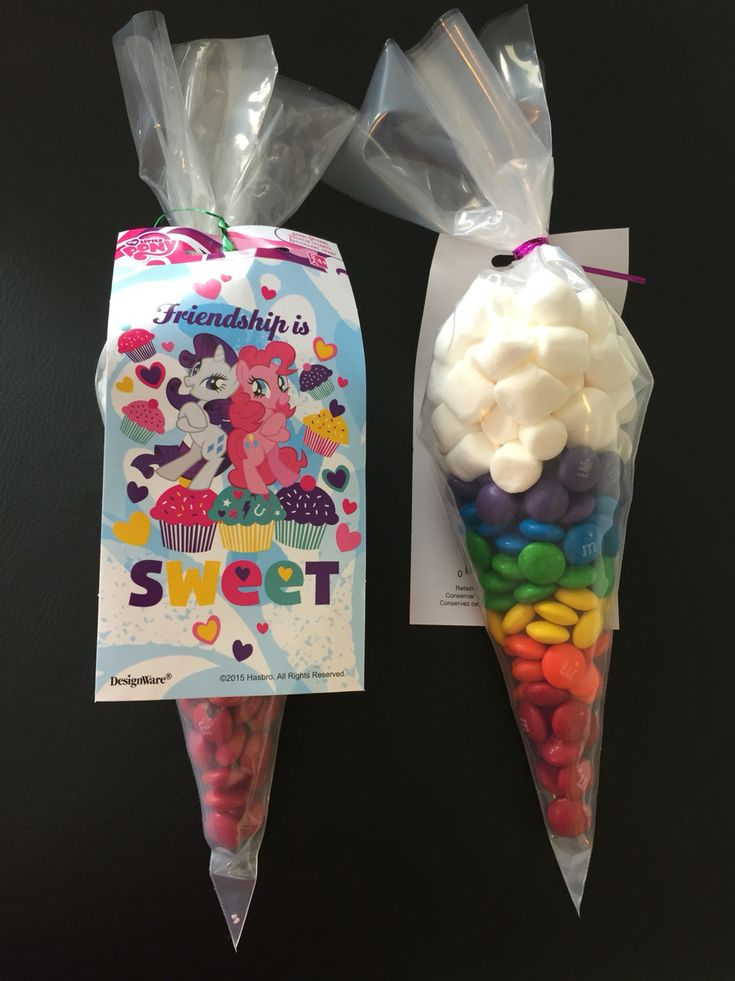 My Little Pony - Rainbow Dash favor. M&m's and Marshmallows. Stickers from Party City. Bags were piping bags from Wilton without any writing on them.