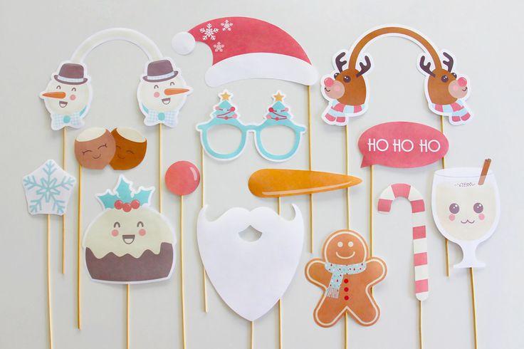 Freebie: White Christmas  Photo Booth Props printable   Creative Sense Co