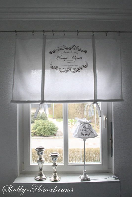 Curtains, dining room. White, Chippy, Shabby Chic, Whitewashed, Romantic, Cottage, French Country, Rustic, Swedish decor Idea. ***Pinned by oldattic***