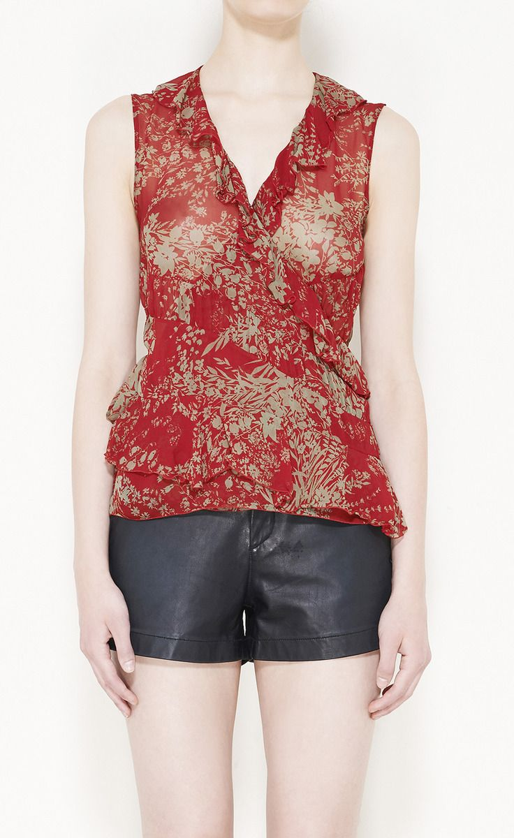 Chloé Red And Olive Green Top | VAUNTE