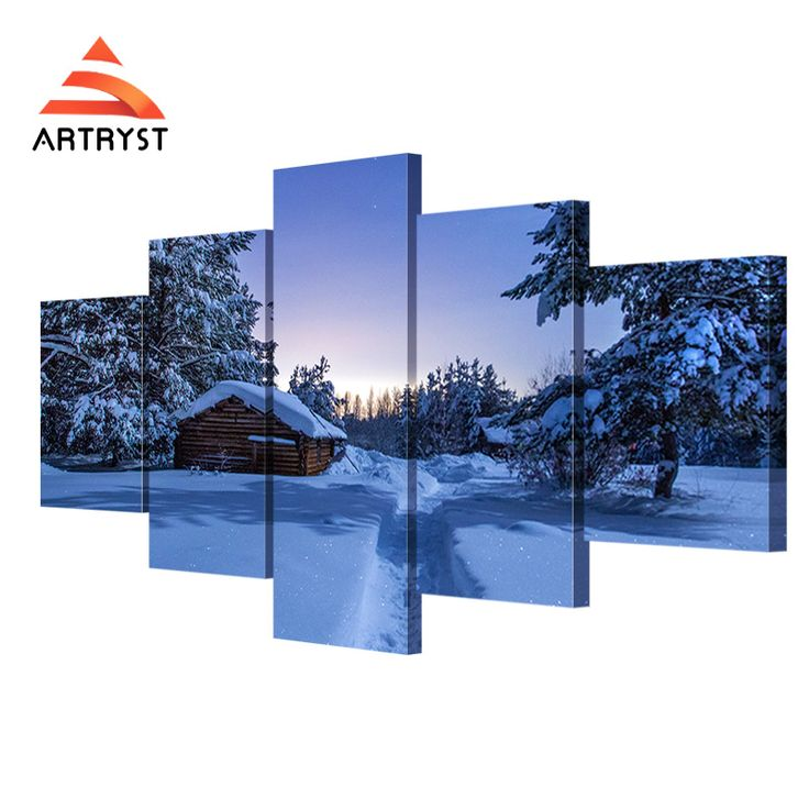 5 Panel Modular Wall Art Winter Night Snow House Landscape Poster HD Print On Canvas Modern Home Quadros Decor Canvas Painting  #Affiliate