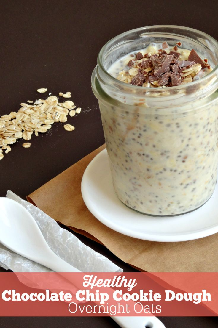 This recipe for healthy chocolate chip cookie dough overnight oats is amazing! They really do taste as good as cookie dough but they're good for you! My favourite healthy breakfast recipe yet - so quick and easy to make for a healthy breakfast on the go!