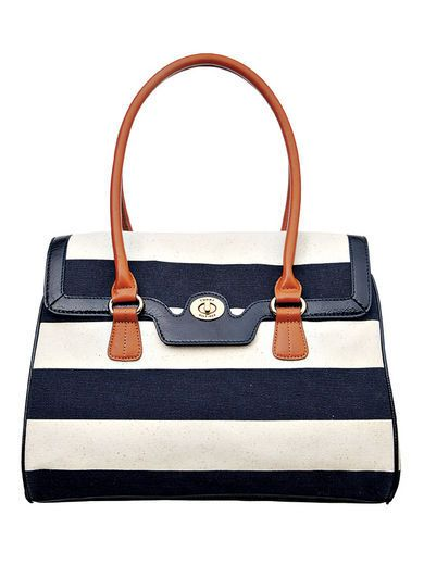 Rugby stripe top-handle bag, Tommy Hilfiger, $98, Macy's stores.