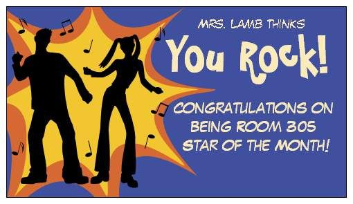 Ms Lamb thinks you rock! card\magnet