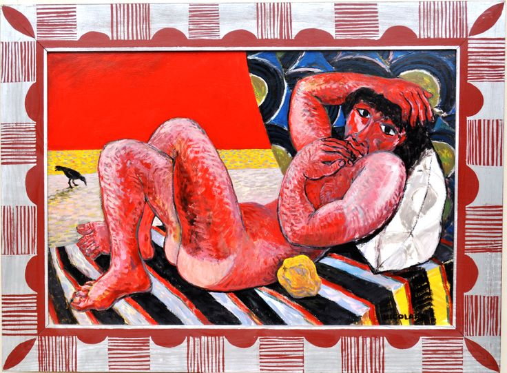 Nicolaas Maritz, NUDE MALE WITH QUINCE AND CROW 2002, enamel paint on board
