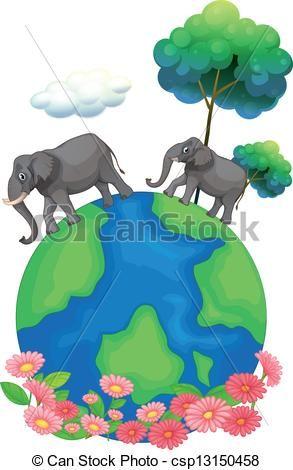 Two, elephants, walking, earth's, surface - csp13150458