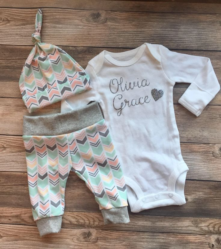 Peach and Mint Chevron Girl Coming Home Outfit, Going Home Outfit, baby girl outfit, newborn girl outfit, newborn girl, baby shower gift by JosieandJames on Etsy https://www.etsy.com/listing/522475916/peach-and-mint-chevron-girl-coming-home