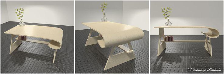 Wooden working desk made with Blender 3D. © Johanna Pakkala. – 3D furniture, 3D modeling.