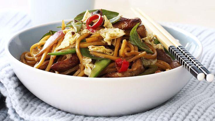 Pork, noodle and Thai basil stir-fry recipe - 9Kitchen
