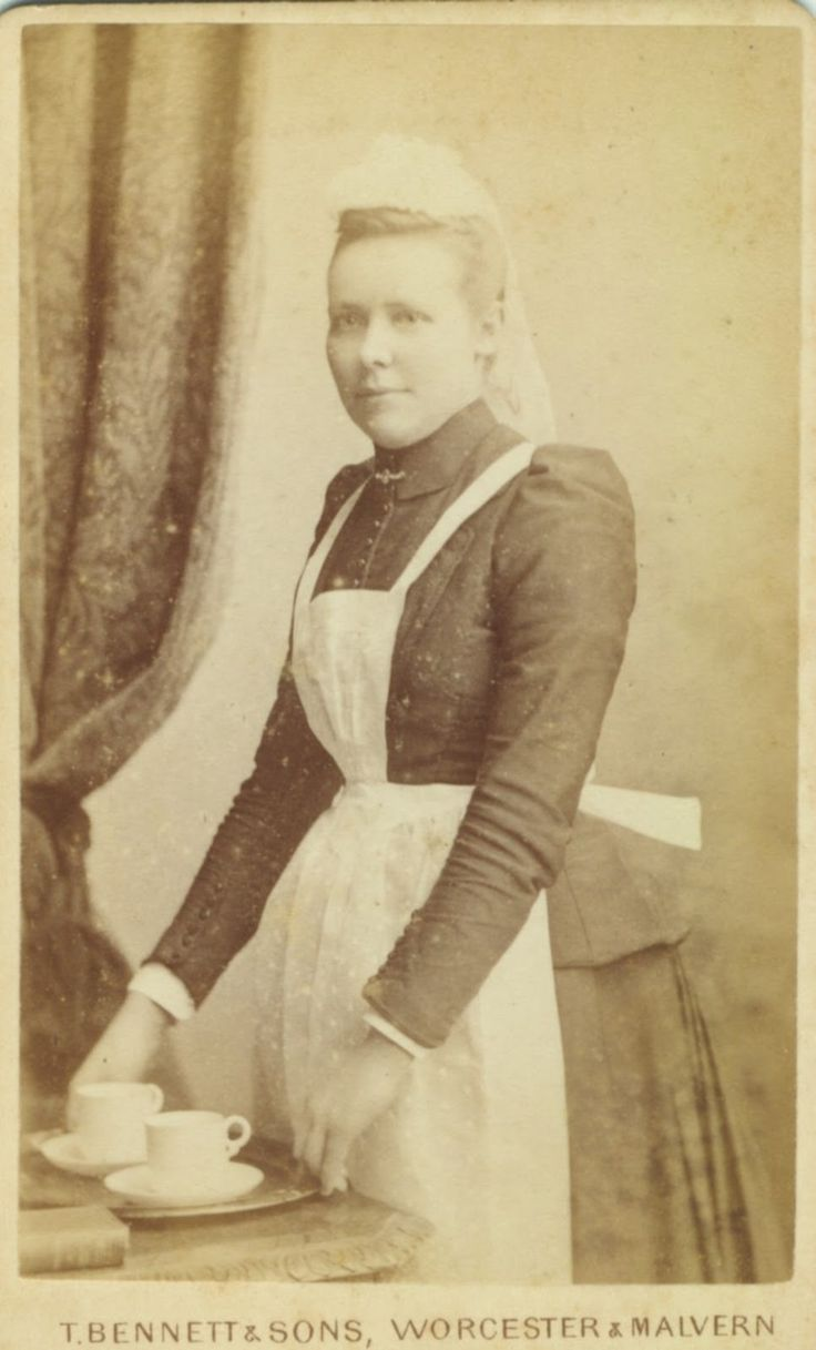 Carte de visite of a servant inscribed 'Alice White, 1 October 1892'.