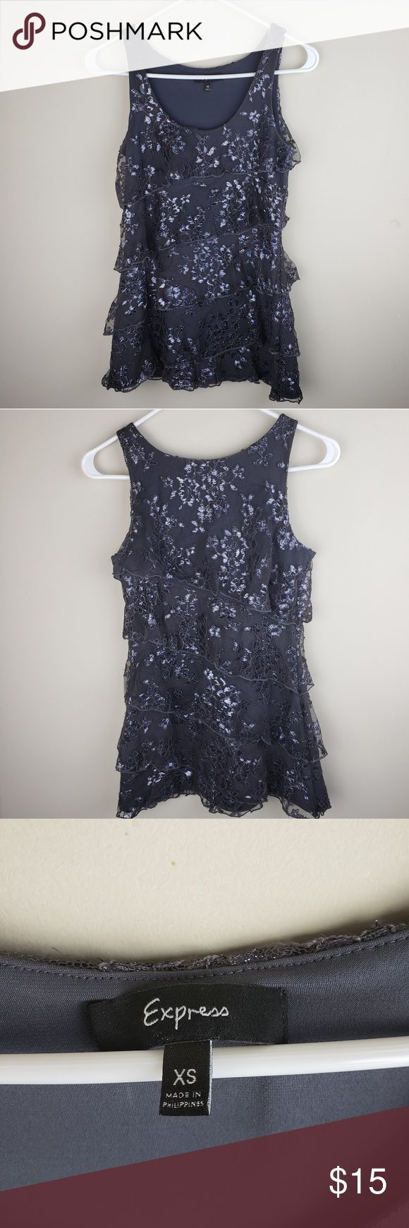 Express | Ruffle Floral Lace Sparkle Tank Top Express Top Women's  Size: X-S…