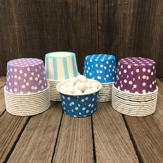 Perfect for your Under the Sea themed birthday, baby shower or picnic, these purple, blue and white stripe and polka dot candy cups are a sure winner. Bake up some mini muffins or fill them with some yummy nuts or candy for a fun favor idea!  Cant find the exact color combination for your party theme? We are always happy to customize your order. Let us know the color combination you would like in the notes to seller at checkout.  Top Diameter 2 -- Height 1.4  48 candy cups per package.   See…