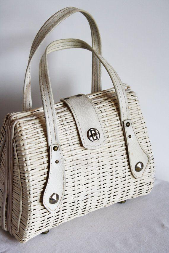 CLEARANCE WAS 68.00 Marcus Brothers Rattan Basket Purse Leather Trim 50s.  Wicker PurseSummer PursesRetro ... f833ba739b