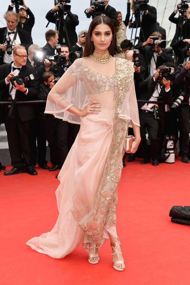 Sonam Kapoor in Annamika Khanna | Cannes Fashion - Red Carpet Dresses at Cannes 2014 - Harper's BAZAAR