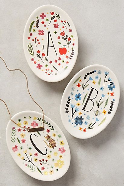 Monogrammed Meadow Trinket Dish #anthropologie