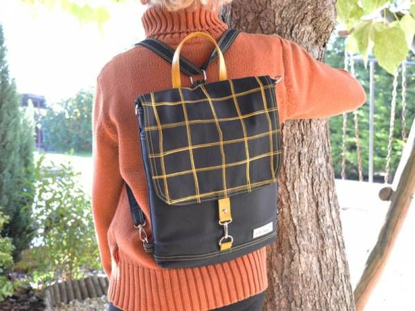 Handmade Canvas Backpack - Black Plaid Design