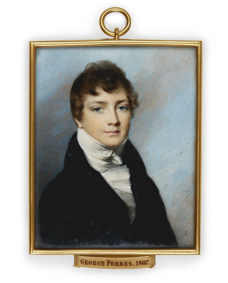 George Engleheart -  KEW 1750 - 1829 BLACKHEATH -  PORTRAIT OF GEORGE FORBES (1790-1857) -  Watercolour and bodycolour on ivory;   signed lower right with the artist's monogram, later gilt-metal frame,   85 by 69 mm