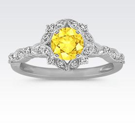Round Halo Vintage Diamond Engagement Ring with Round Yellow Sapphire