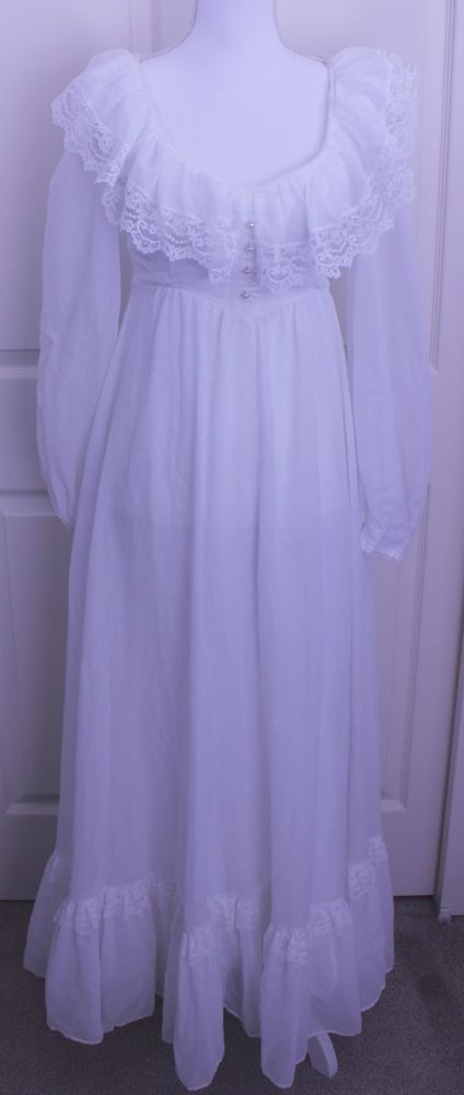 Vintage Jessica McClintock Gunne Sax Lace Boho Wedding Prairie Maxi Dress Sz XS? #JessicaMcClintock #GunneSax