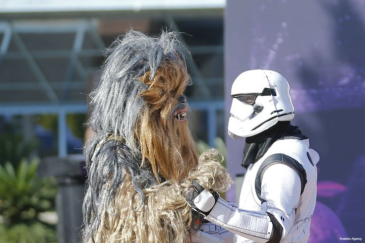 Star Wars fan anyone? Clone trooper (R) and Chewbacca (L) are seen at the 54th International Antalya Film Festival in Antalya