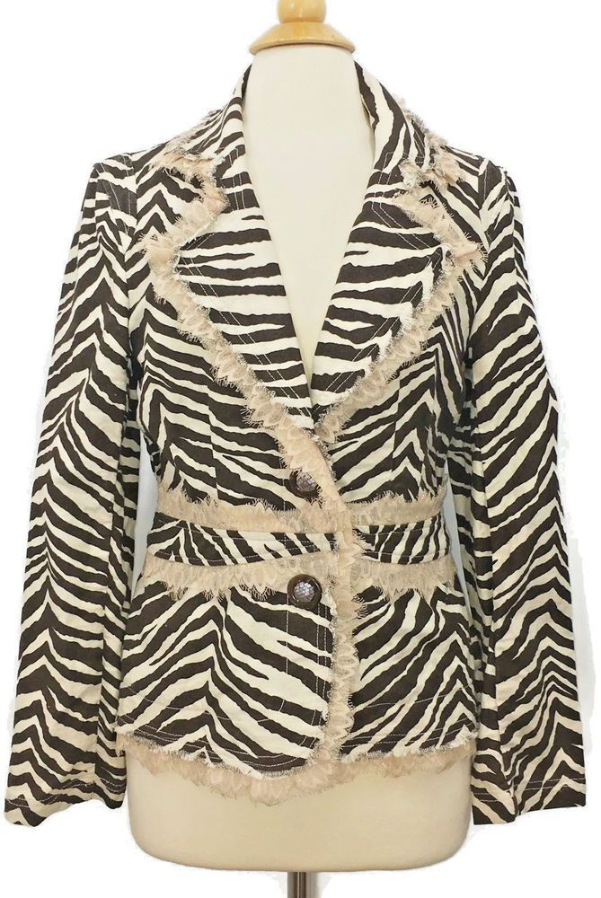 Zebra Print BEREK 2 Jacket by Takako Sakon Cotton Lace Trim Button Down Sz M #Berek #Canvas #Any