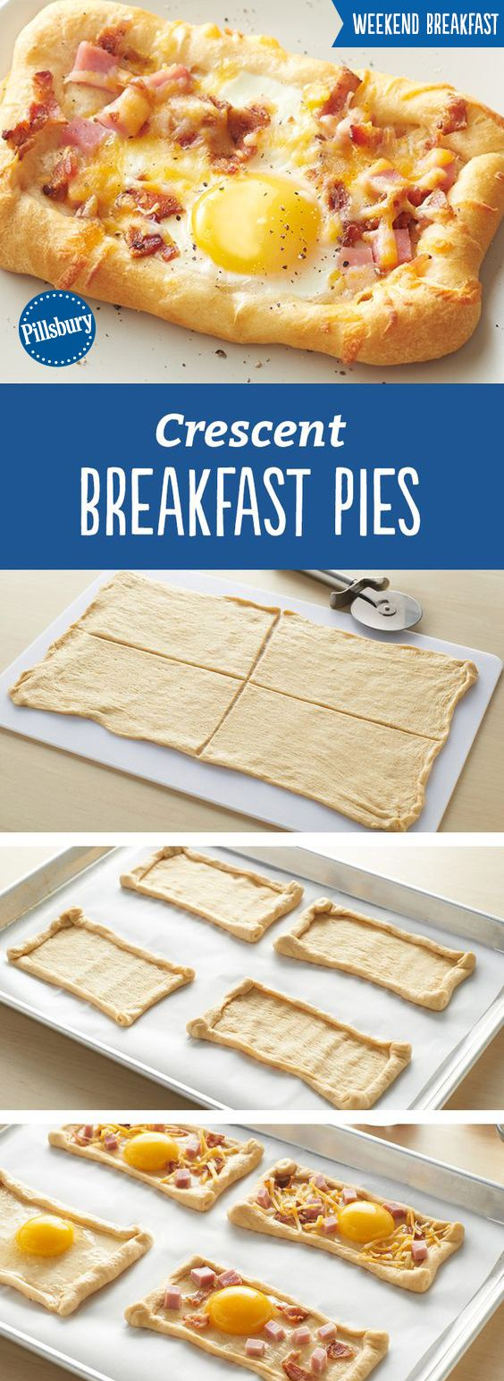 Crescent Breakfast Pies are the perfect recipe to impress all your guests at brunch! Made with crescents, egg, cheese, ham and bacon they're super easy to make and super delicious. Make these breakfast pies on weekend and holiday mornings for a special treat!