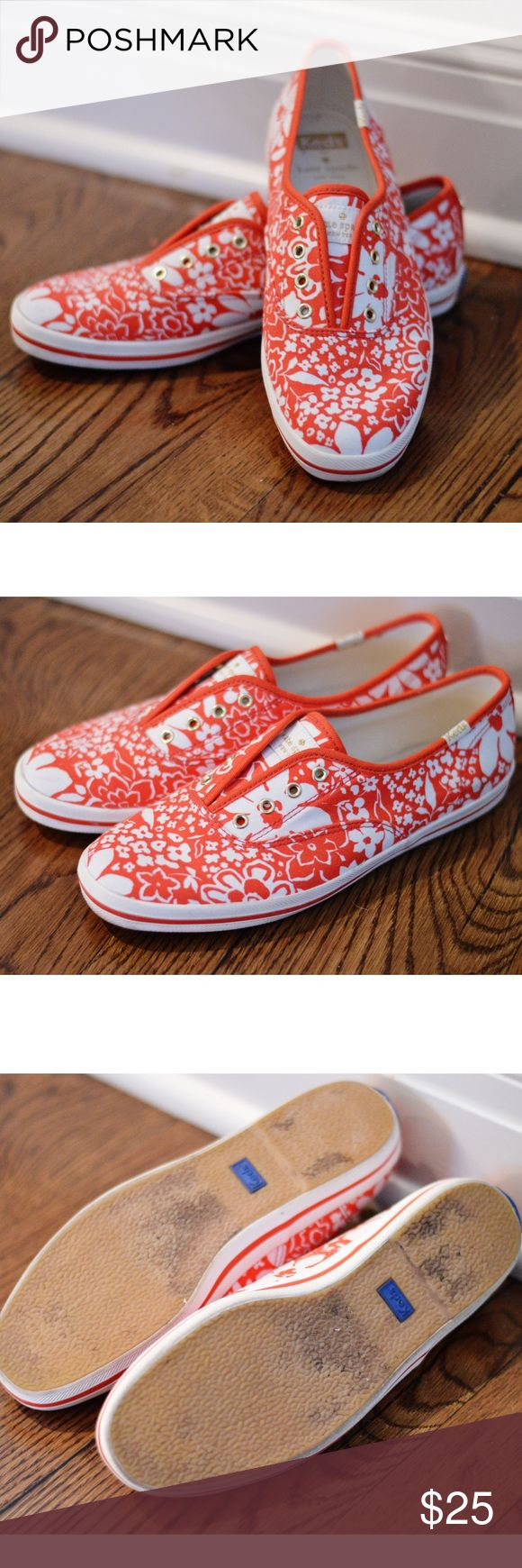Kate Spade for Keds Sneakers SIZE 7.5 EUC Barely worn Ked sneakers designed with Kate Spade. They fit true to size. Coral floral pattern. Keds Shoes Sneakers