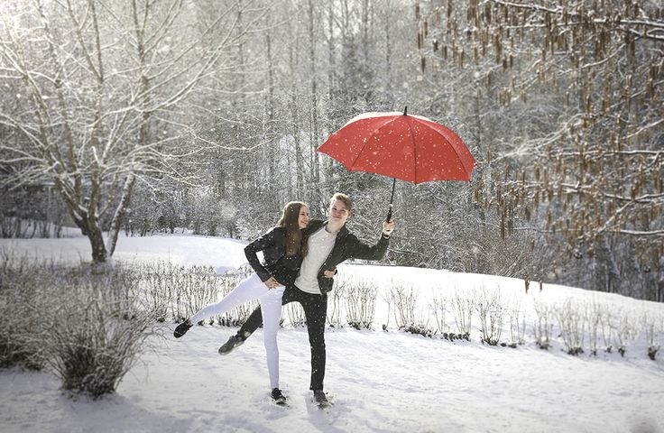 Love and Snowflakes.  Teenagers, winter, snow, love, young couple