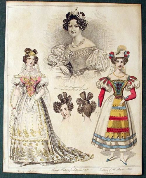 Court dress of Queen Adelaide and Italian fancy dress, 1830 United Kingdom, source missing. http://oldrags.tumblr.com/tagged/court/page/8#