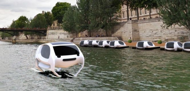 The Sea Bubble water taxis as it might look once it goes public. Sea Bubbles are a French invention and will be tested on the River Seine.   Sailor and inventor Alain Thébault's four-passenger taxi with submerged,   #flying water taxi #French invention #Sea Bubble water taxi #seabubble #water taxi #water taxis