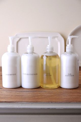 Everyday Essentials: Love this simple, clean idea to replace the bright colored shampoo bottles.