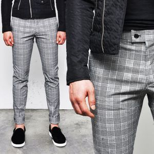Uber-sleek Must Slim Glen Check Slacks-Pants 111