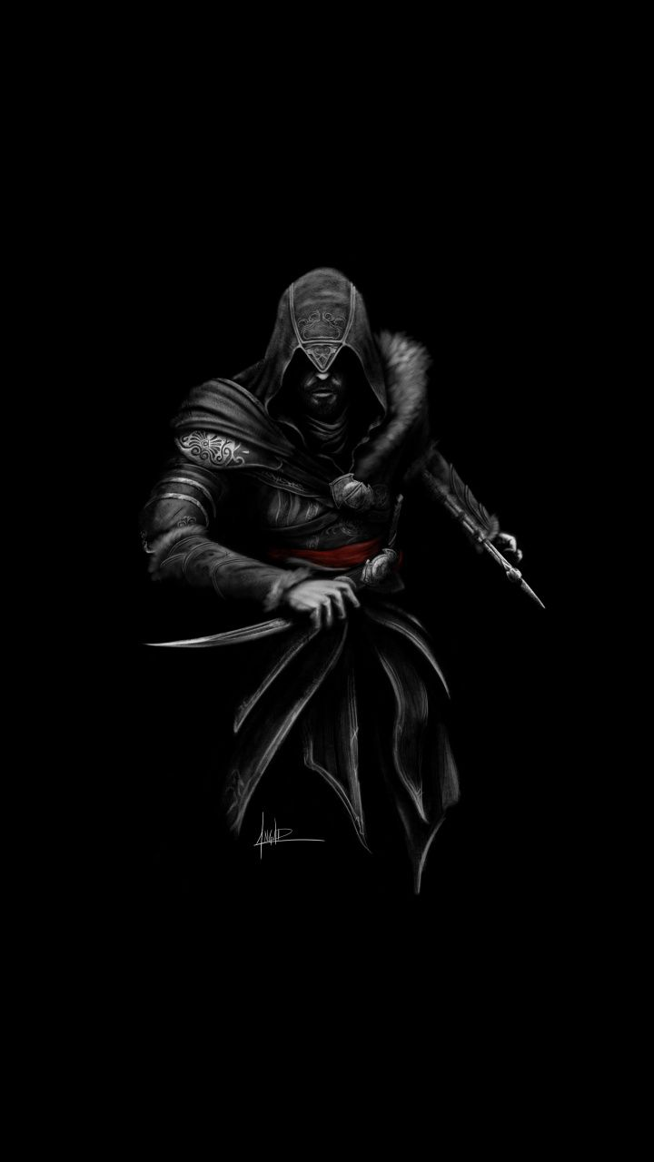 Ezio, assassin, Assassin's Creed, dark, minimal, art