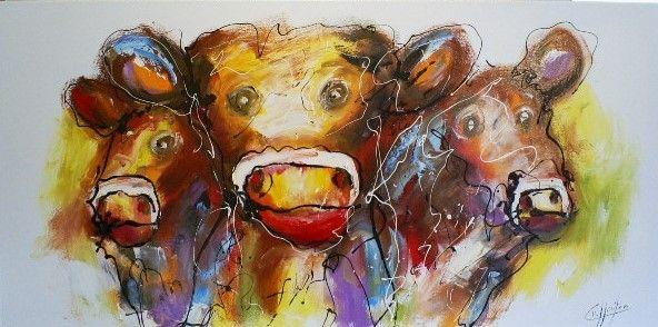 Grappige koeien! https://www.schilderijenshop.com/catalog/product/view/id/7348/s/schilderij-koeien-70x140/category/57/