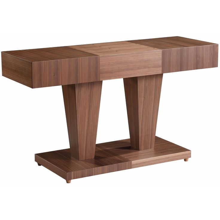 Sarasota Square Console Table with Dual Pedestal Base In Natural Walnut Finish by Allan Copley Designs