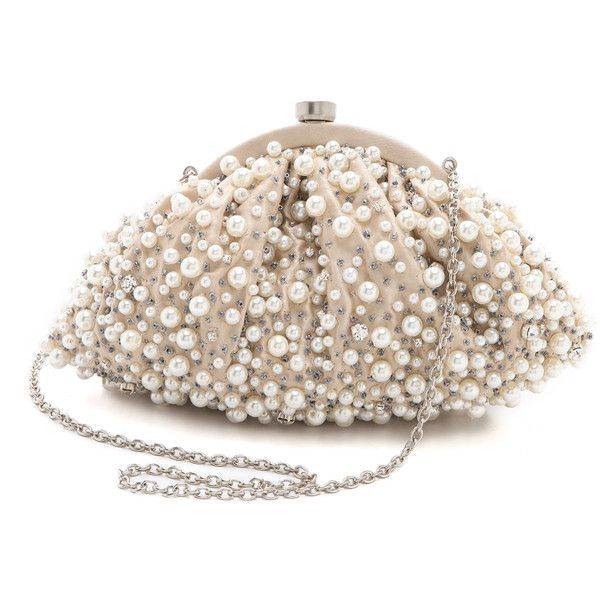Santi Imitation Pearl Clutch ($215) ❤ liked on Polyvore featuring bags, handbags, clutches, purses, accessories, ivory, santi clutches, santi handbags, beaded clutches and beaded purse