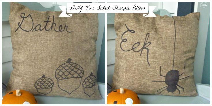 Quick'n'Easy DIY Two-Sided Sharpie Pillow for Fall